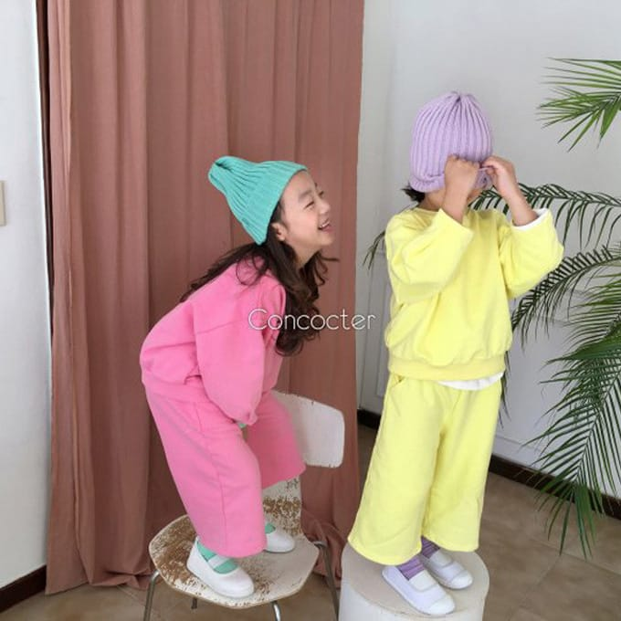 CONCOCTER - BRAND - Korean Children Fashion - #Kfashion4kids - Sleeve Winkle Top Bottom Set