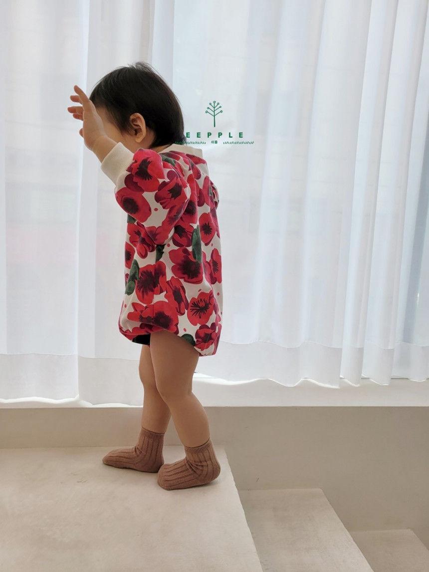 EEPPLE - Korean Children Fashion - #Kfashion4kids - Flower Sweatshirt Bodysuit - 8