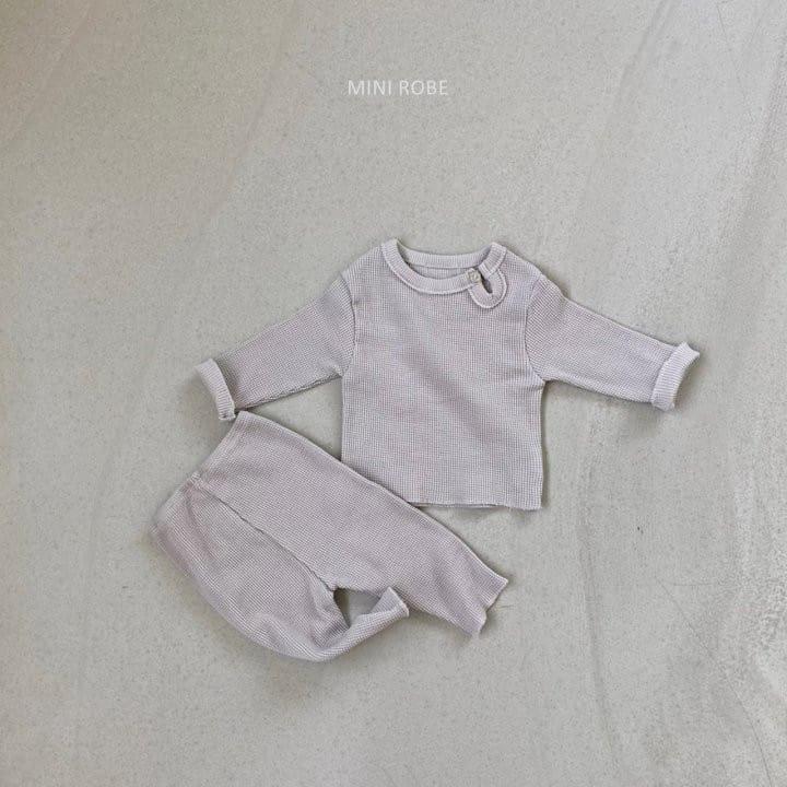 MINI ROBE - Korean Children Fashion - #Kfashion4kids - Waffle Top Bottom Set - 3