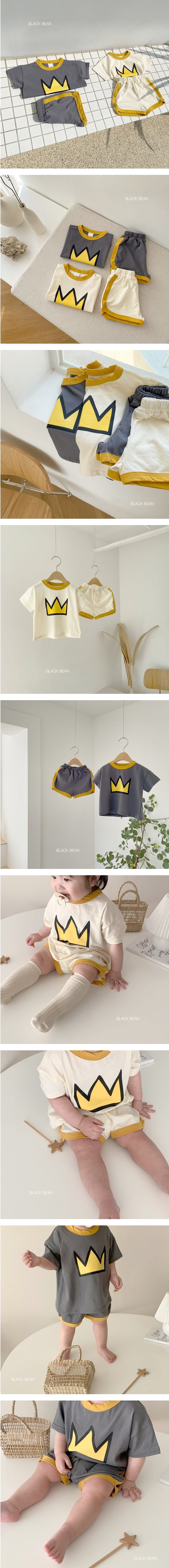 BLACK BEAN - Korean Children Fashion - #Kfashion4kids - Crown Bebe Top Bottom Set
