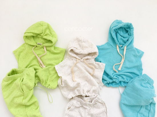 CONCOCTER - Korean Children Fashion - #Kfashion4kids - Kock Kock Kock Hoody Vest Bottom Set - 3