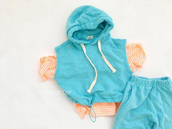 CONCOCTER - Korean Children Fashion - #Kfashion4kids - Kock Kock Kock Hoody Vest Bottom Set - 7
