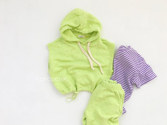 CONCOCTER - Korean Children Fashion - #Kfashion4kids - Kock Kock Kock Hoody Vest Bottom Set - 8