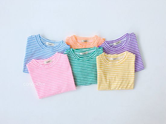 CONCOCTER - Korean Children Fashion - #Kfashion4kids - Bbom Bbom Stripes Twin Tee 1+1