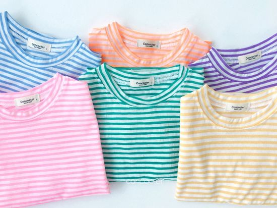 CONCOCTER - Korean Children Fashion - #Kfashion4kids - Bbom Bbom Stripes Twin Tee 1+1 - 2