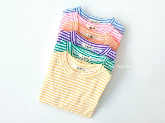 CONCOCTER - Korean Children Fashion - #Kfashion4kids - Bbom Bbom Stripes Twin Tee 1+1 - 4