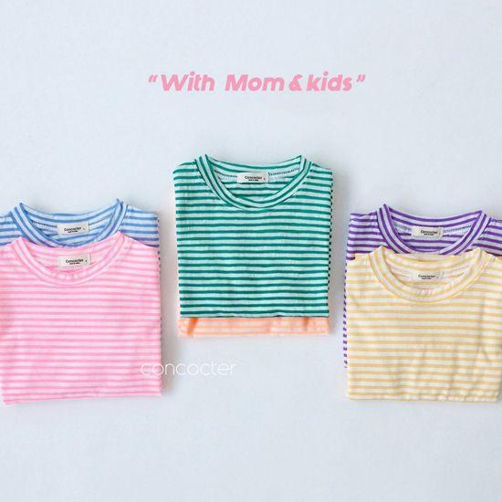 CONCOCTER - BRAND - Korean Children Fashion - #Kfashion4kids - Bbom Bbom Stripes Twin Tee 1+1