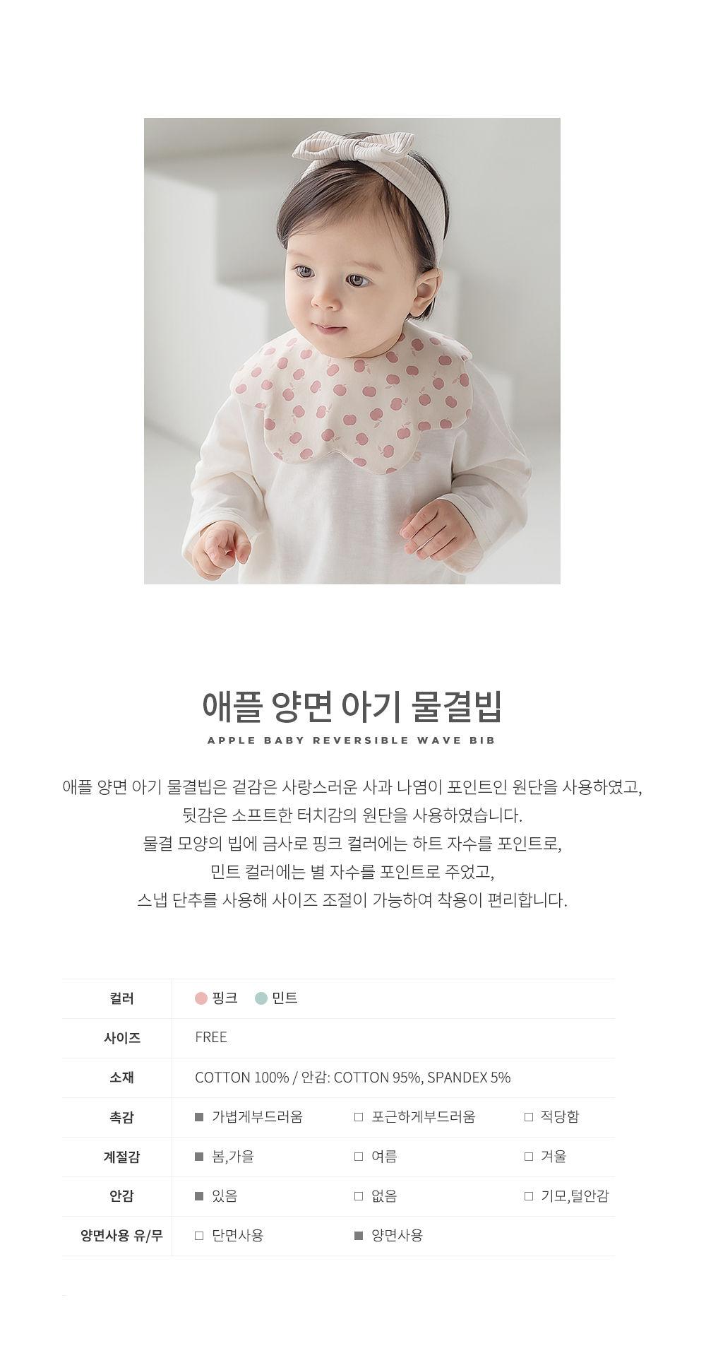 HAPPY PRINCE - Korean Children Fashion - #Kfashion4kids - Apple Baby Reversible Wave Bib - 3