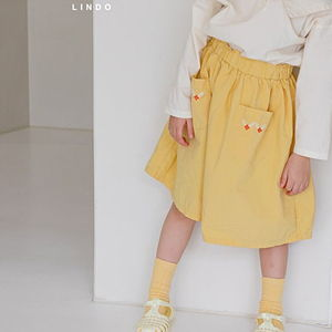 LINDO - BRAND - Korean Children Fashion - #Kfashion4kids - Flower Embroidery Skirt