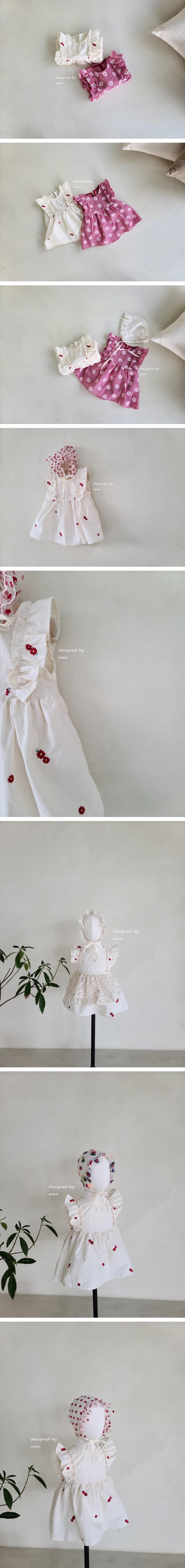 MAC - Korean Children Fashion - #Kfashion4kids - Embroidery Sleeveless One-piece Bodysuit
