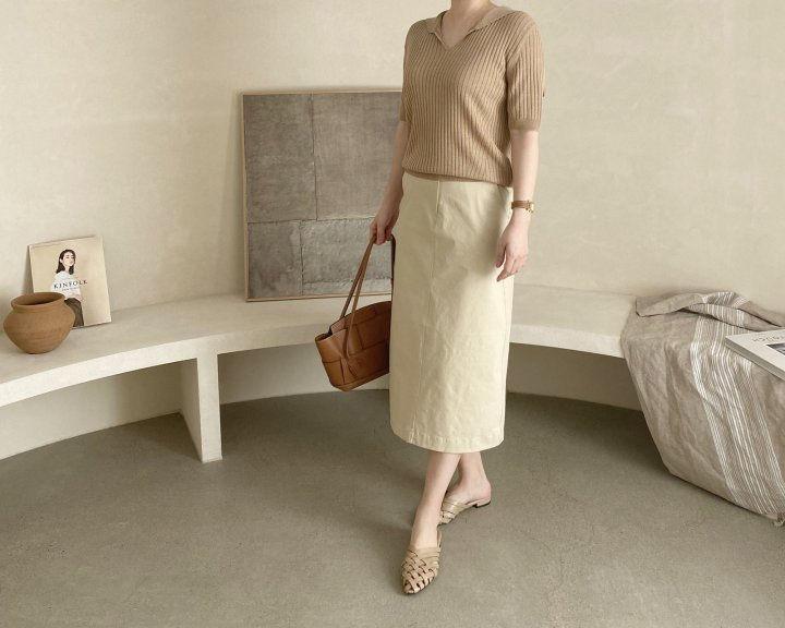 AFTERGLOW - Korean Women Fashion - #Kfashion - Diagonal Straight Skirt - 4