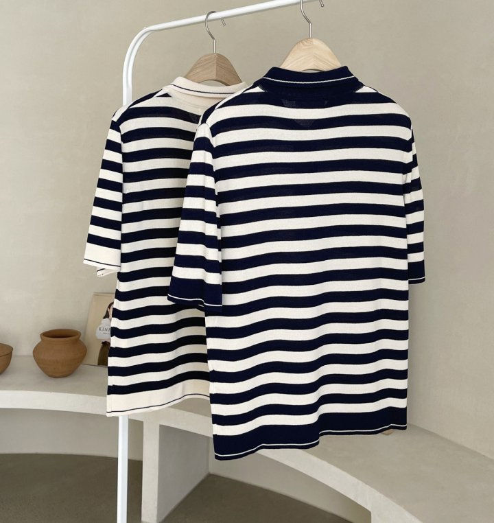 AFTERGLOW - Korean Women Fashion - #Kfashion - Collar Stripe Knit Top - 2