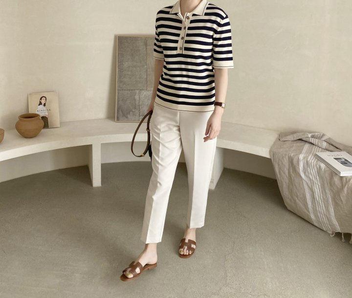 AFTERGLOW - Korean Women Fashion - #Kfashion - Collar Stripe Knit Top - 4