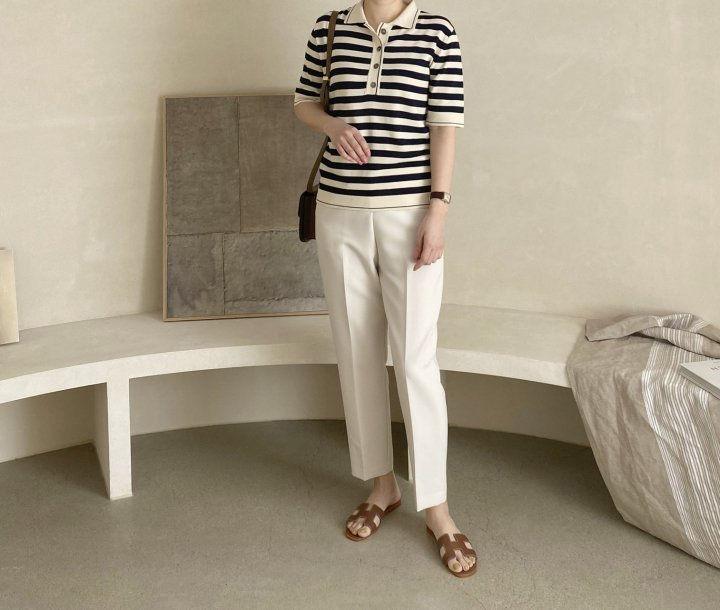 AFTERGLOW - Korean Women Fashion - #Kfashion - Collar Stripe Knit Top - 5