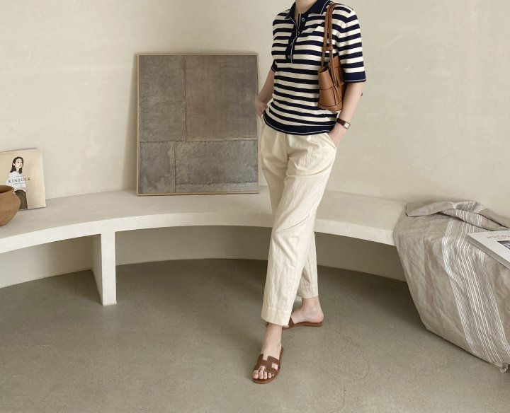 AFTERGLOW - Korean Women Fashion - #Kfashion - Collar Stripe Knit Top - 6