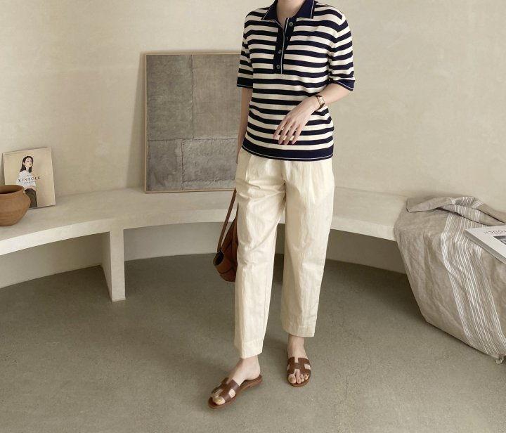 AFTERGLOW - Korean Women Fashion - #Kfashion - Collar Stripe Knit Top - 7