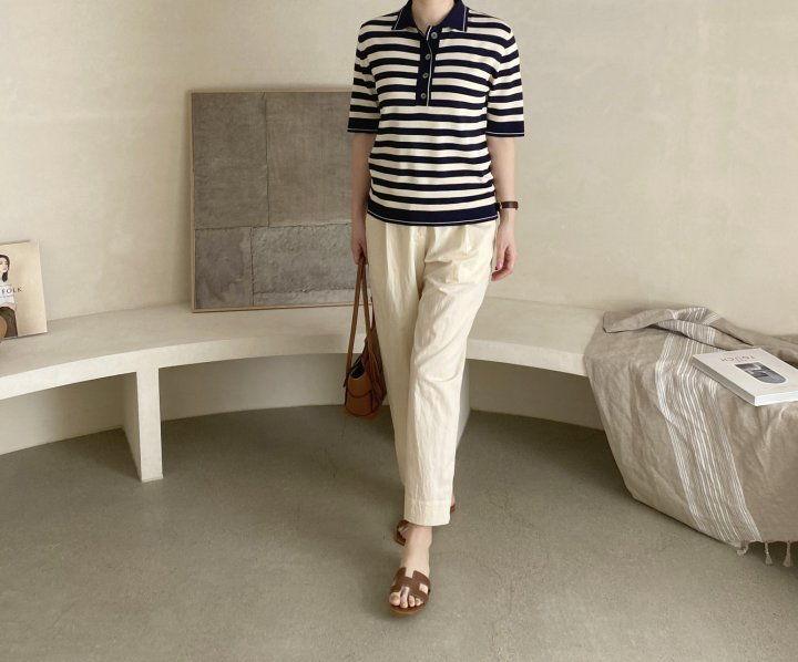 AFTERGLOW - Korean Women Fashion - #Kfashion - Collar Stripe Knit Top - 8