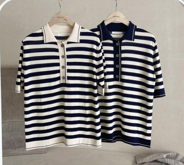 AFTERGLOW - BRAND - Korean Children Fashion - #Kfashion4kids - Collar Stripe Knit Top