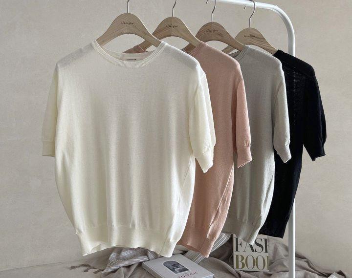 AFTERGLOW - Korean Women Fashion - #Kfashion - Simple Round Knit Pullover