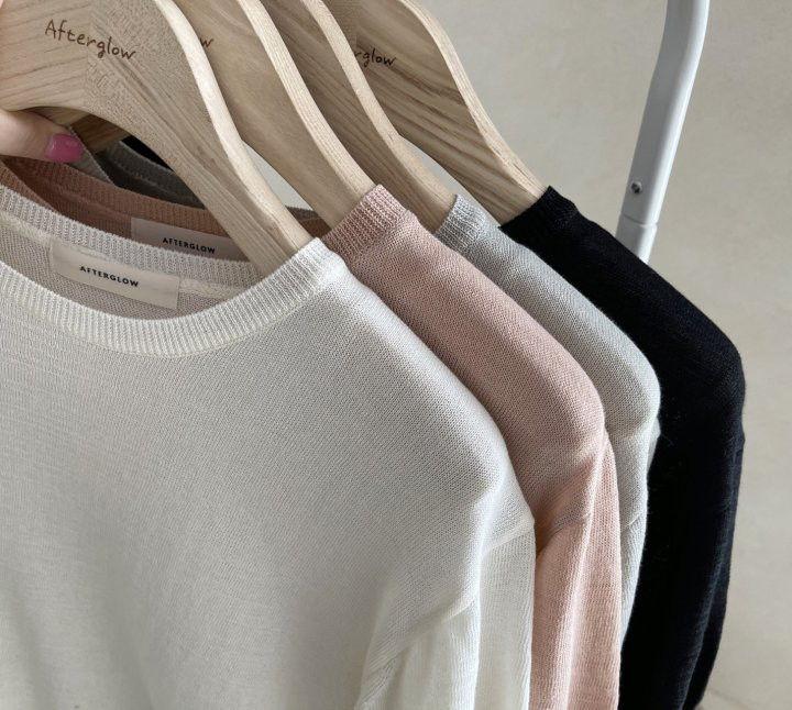 AFTERGLOW - Korean Women Fashion - #Kfashion - Simple Round Knit Pullover - 3