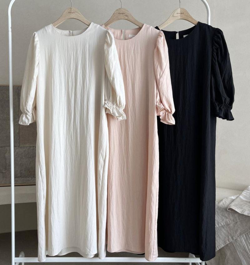 AFTERGLOW - Korean Women Fashion - #Kfashion - Sleeve Shirring One-piece