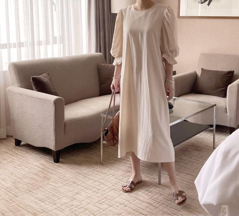 AFTERGLOW - Korean Women Fashion - #Kfashion - Sleeve Shirring One-piece - 10