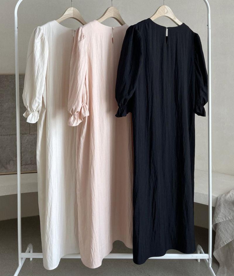 AFTERGLOW - Korean Women Fashion - #Kfashion - Sleeve Shirring One-piece - 2
