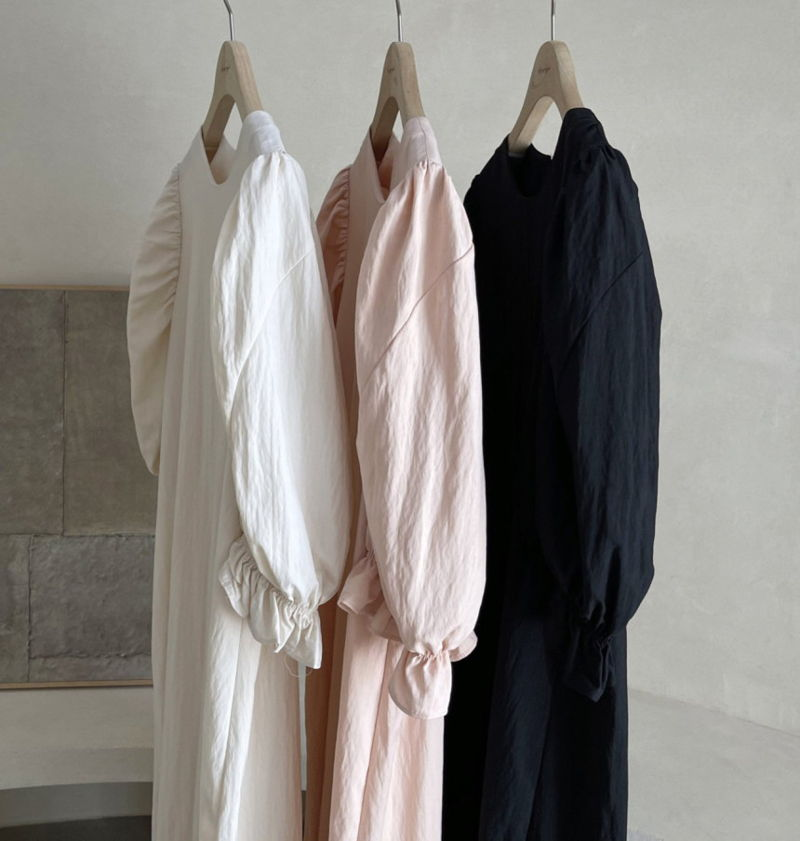 AFTERGLOW - Korean Women Fashion - #Kfashion - Sleeve Shirring One-piece - 3