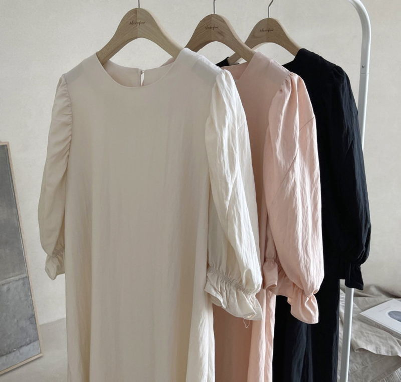 AFTERGLOW - Korean Women Fashion - #Kfashion - Sleeve Shirring One-piece - 4