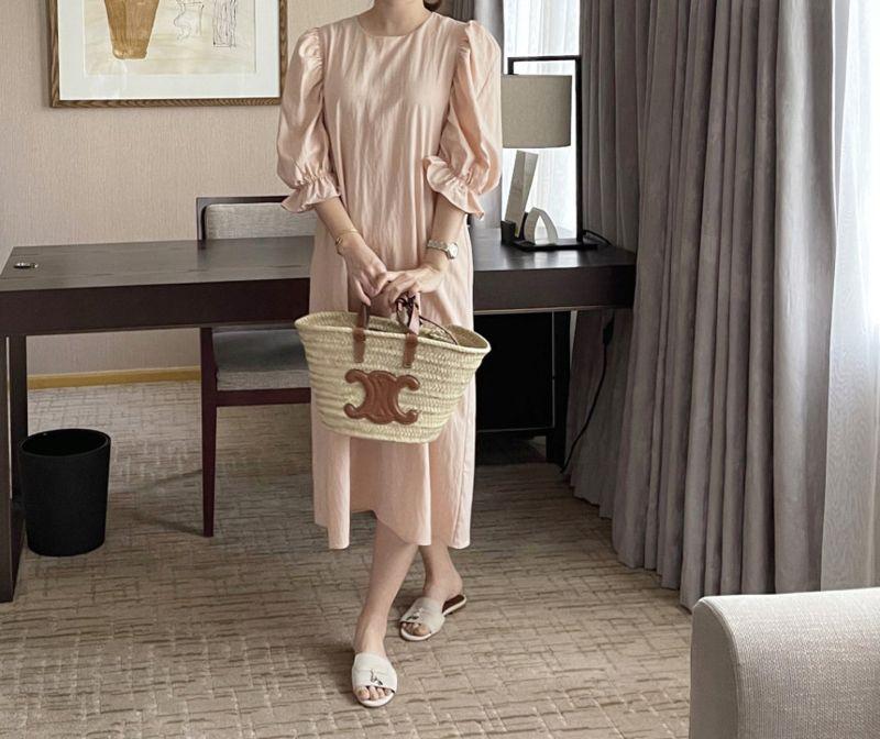 AFTERGLOW - Korean Women Fashion - #Kfashion - Sleeve Shirring One-piece - 5