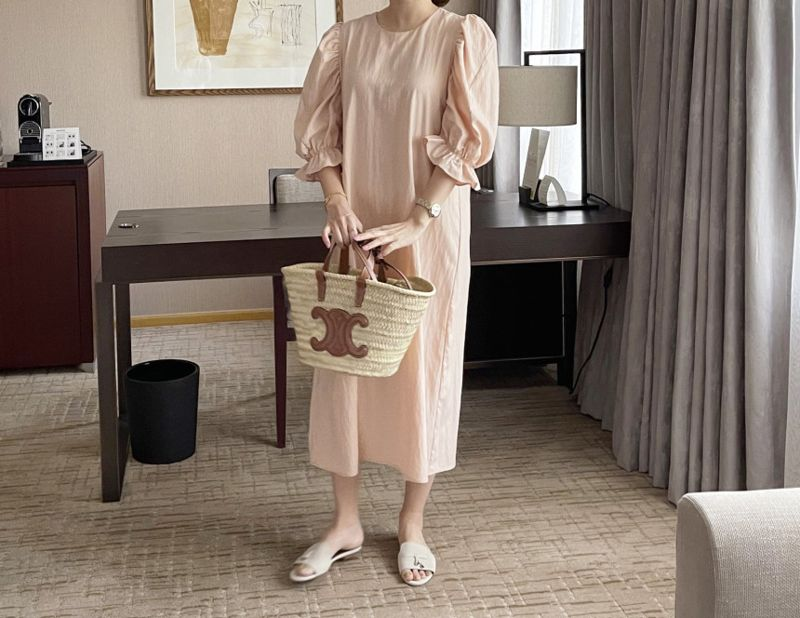 AFTERGLOW - Korean Women Fashion - #Kfashion - Sleeve Shirring One-piece - 6