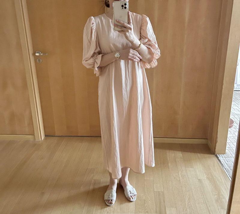AFTERGLOW - Korean Women Fashion - #Kfashion - Sleeve Shirring One-piece - 8