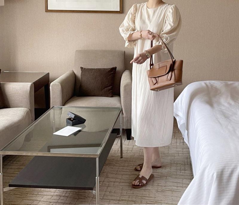 AFTERGLOW - Korean Women Fashion - #Kfashion - Sleeve Shirring One-piece - 9