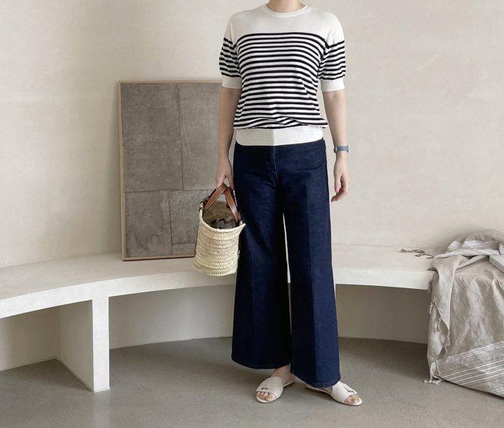 AFTERGLOW - Korean Women Fashion - #Kfashion - Simple Stripe Knit Pullover