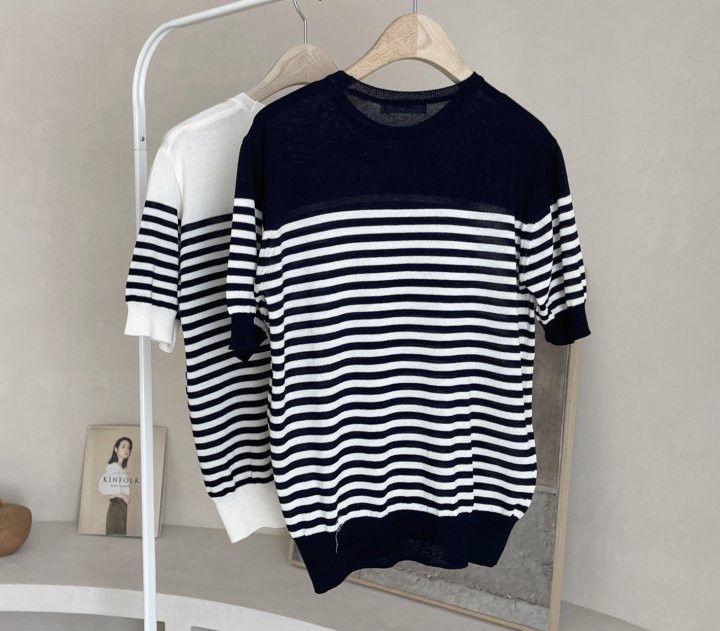 AFTERGLOW - Korean Women Fashion - #Kfashion - Simple Stripe Knit Pullover - 10