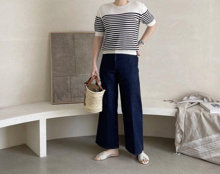 AFTERGLOW - Korean Women Fashion - #Kfashion - Simple Stripe Knit Pullover - 2
