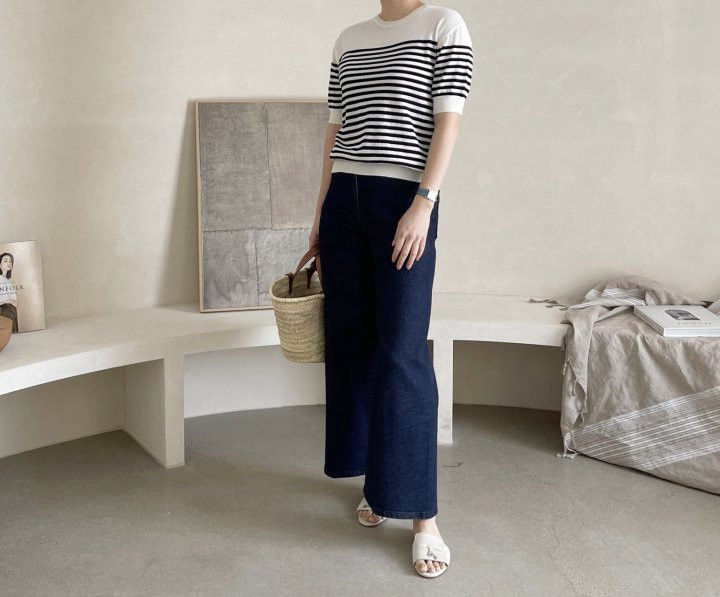 AFTERGLOW - Korean Women Fashion - #Kfashion - Simple Stripe Knit Pullover - 4