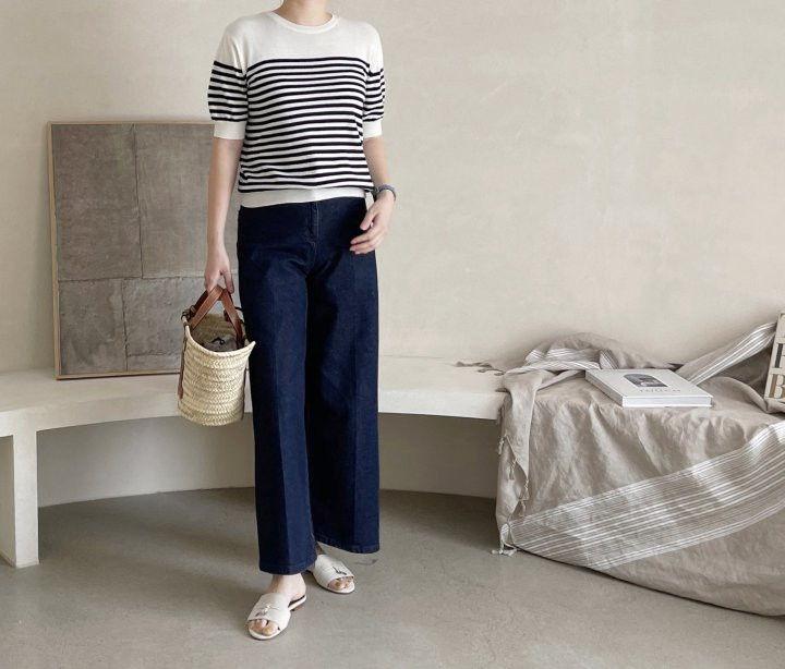 AFTERGLOW - Korean Women Fashion - #Kfashion - Simple Stripe Knit Pullover - 5