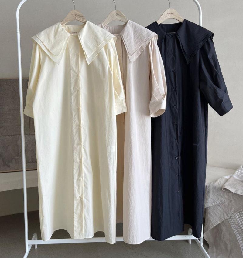 AFTERGLOW - Korean Women Fashion - #Kfashion - Sailor Collar One-piece