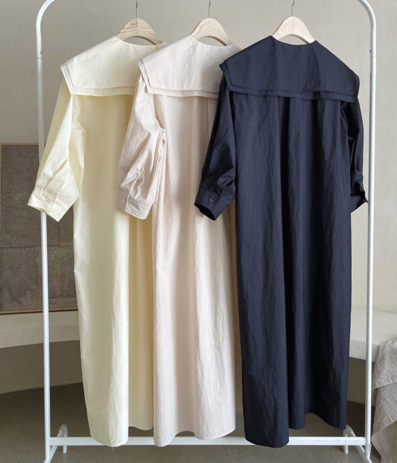 AFTERGLOW - Korean Women Fashion - #Kfashion - Sailor Collar One-piece - 3