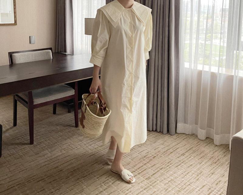 AFTERGLOW - Korean Women Fashion - #Kfashion - Sailor Collar One-piece - 5