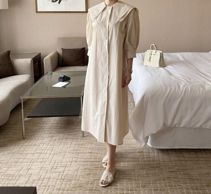 AFTERGLOW - Korean Women Fashion - #Kfashion - Sailor Collar One-piece - 7