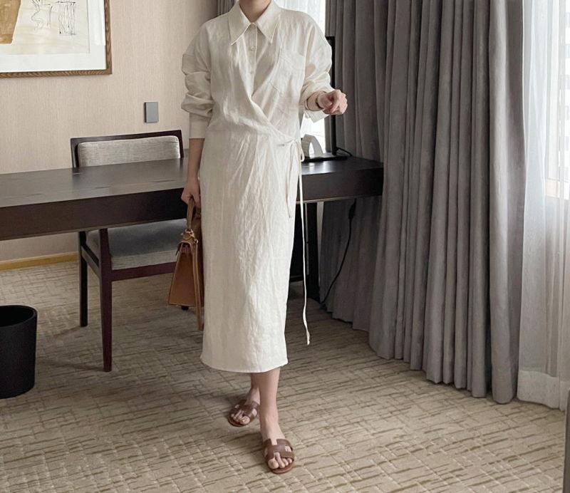 AFTERGLOW - Korean Women Fashion - #Kfashion - Lemere Linen One-piece - 3