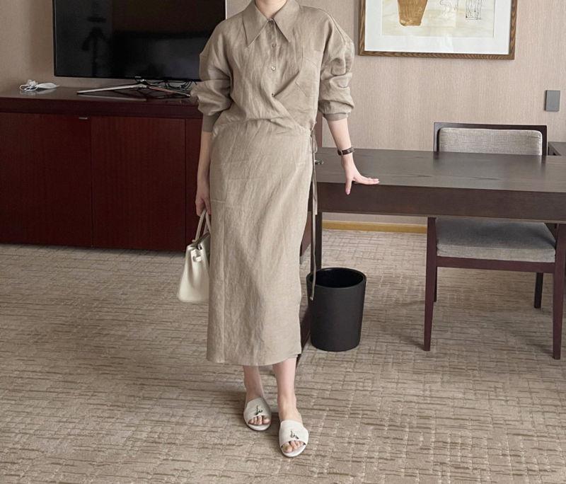 AFTERGLOW - Korean Women Fashion - #Kfashion - Lemere Linen One-piece - 5