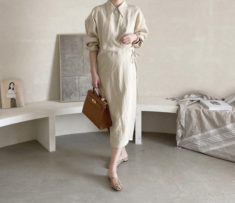 AFTERGLOW - Korean Women Fashion - #Kfashion - Lemere Linen One-piece - 6
