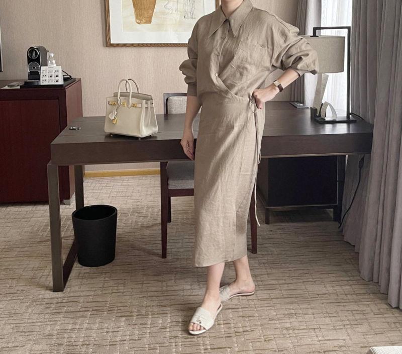 AFTERGLOW - Korean Women Fashion - #Kfashion - Lemere Linen One-piece - 7