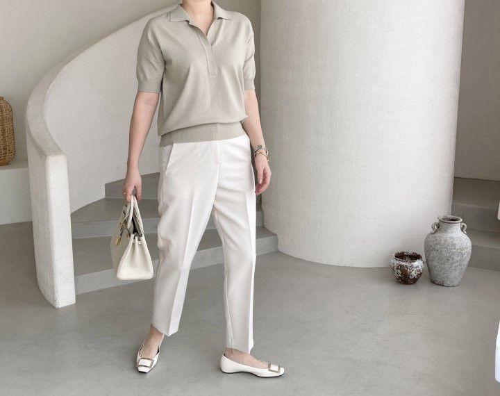 AFTERGLOW - Korean Women Fashion - #Kfashion - Namoo Collar Knit Pullover - 11