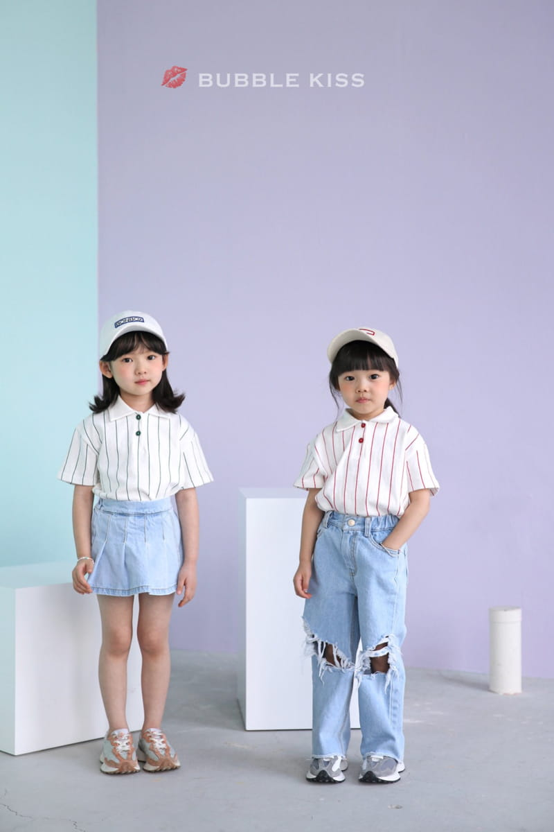 BUBBLE KISS - Korean Children Fashion - #Kfashion4kids - Stripes Collar Tee