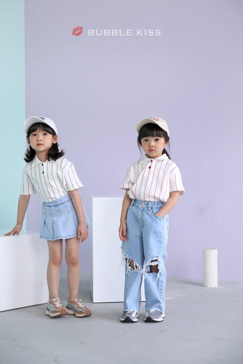 BUBBLE KISS - Korean Children Fashion - #Kfashion4kids - Stripes Collar Tee - 2