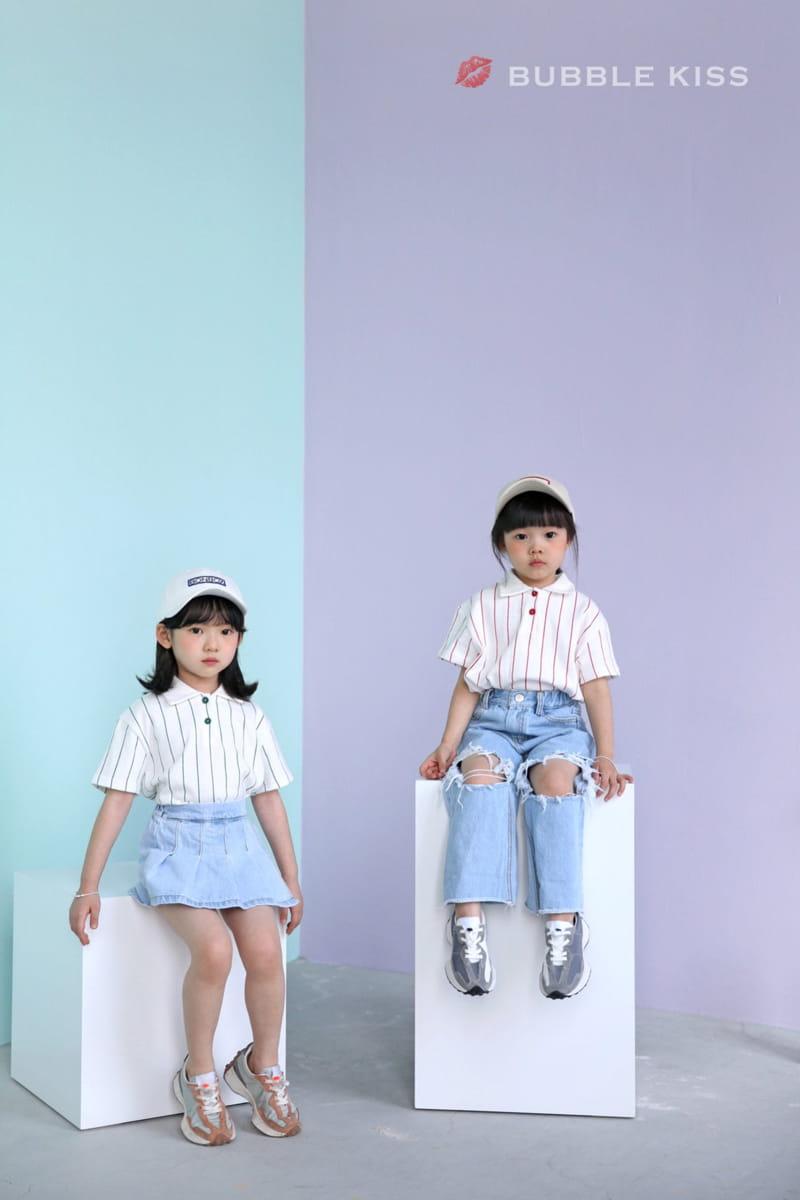 BUBBLE KISS - Korean Children Fashion - #Kfashion4kids - Stripes Collar Tee - 3